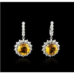 14KT White Gold 15.20ctw Citrine and Diamond Earrings