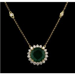 3.98ct Emerald and Diamond Pendant With Chain - 18KT Yellow Gold