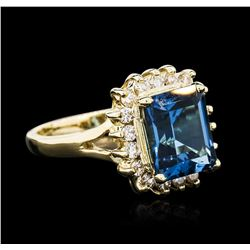 14KT Yellow Gold 3.00ct Topaz and Diamond Ring