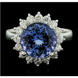14KT White Gold 4.23ct Tanzanite and Diamond Ring