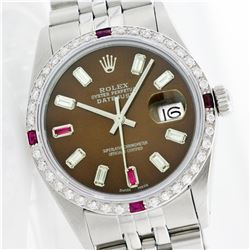 Rolex Stainless Diamond and Ruby DateJust Men's Watch