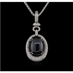 17.18ct Star Sapphire and Diamond Pendant With Chain - 14KT White Gold