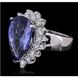 14KT White Gold GIA Certified 8.26ct Tanzanite and Diamond Ring
