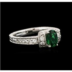 14KT White Gold 0.75ct Emerald and Diamond Ring