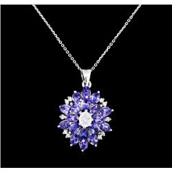 14KT White Gold 3.96ctw Tanzanite and Diamond Pendant With Chain