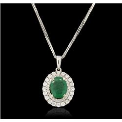 14KT White Gold 1.33ct Emerald and Diamond Pendant With Chain