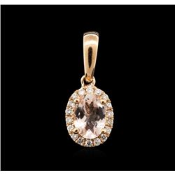 14KT Rose Gold 0.66ct Morganite and Diamond Pendant