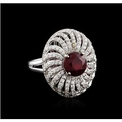 14KT White Gold 2.47ct Ruby and Diamond Ring