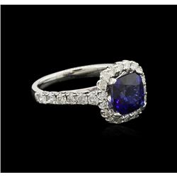 3.00ct Blue Sapphire and Diamond Ring - 14KT White Gold