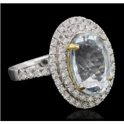 14KT Two-Tone Gold 5.13ct Aquamarine and Diamond Ring