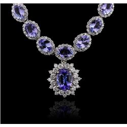 14KT White Gold 33.55ctw Tanzanite and Diamond Necklace