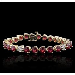 14KT Yellow Gold 18.27ctw Ruby and Diamond Bracelet
