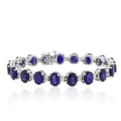 14KT White Gold 31.32ctw Corundum and Diamond Bracelet