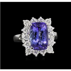 14KT White Gold 2.55ct Tanzanite and Diamond Ring