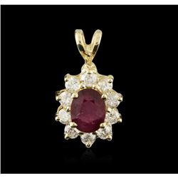 14KT Yellow Gold 1.15ct Ruby and Diamond Pendant