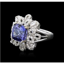 18KT White Gold 5.60ct Tanzanite and Diamond Ring