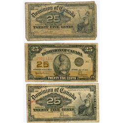 1900 and 1923 25 Cent Dominion of Canada Bills Lot of 3