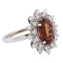 14KT White Gold 4.30ct Spessartite Garnet and Diamond Ring