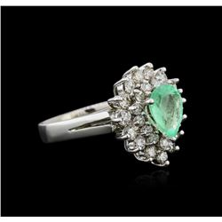 14KT White Gold 1.39ct Emerald and Diamond Ring