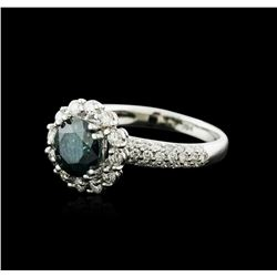 14KT White Gold 2.11ctw Blue Diamond Ring