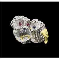 24.78ctw White Topaz, Ruby and Sapphire Ring - 18KT Two-Tone Gold
