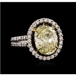 14KT White Gold 4.74ctw Fancy Yellow Diamond Ring