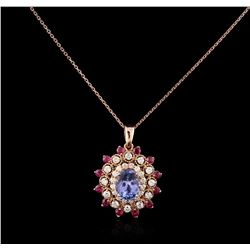 14KT Rose Gold 3.41ct Tanzanite, Ruby and Diamond Pendant With Chain