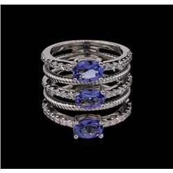 2.20ctw Tanzanite and Diamond Ring - 14KT White Gold