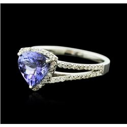 14KT White Gold 1.72ct Tanzanite and Diamond Ring