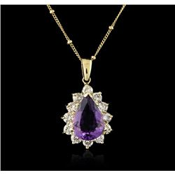14KT Yellow Gold 4.38ct Amethyst and Diamond Pendant With Chain