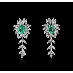 1.36ctw Emerald and Diamond Earrings - 14KT White Gold
