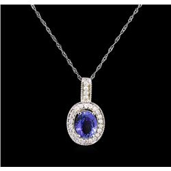 1.63ct Tanzanite and Diamond Pendant With Chain - 18KT White Gold