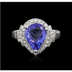 14KT White Gold 2.90ct Tanzanite and Diamond Ring