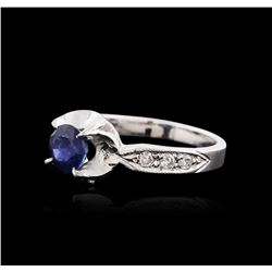 14KT White Gold 1.09ct Sapphire and Diamond Ring