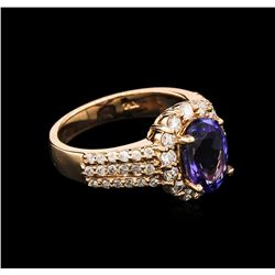 2.30ct Tanzanite and Diamond Ring - 14KT Rose Gold