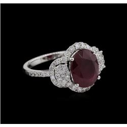 5.00ct Ruby and Diamond Ring - 14KT White Gold