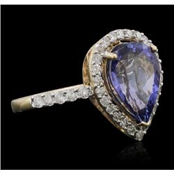 14KT Yellow Gold 2.80ct Tanzanite and Diamond Ring