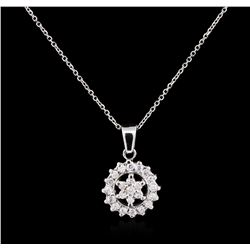 0.57ctw Diamond Pendant With Chain - 14KT White Gold
