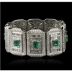 Platinum GIA Certified 9.37ctw Emerald and Diamond Bracelet