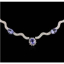 14KT White Gold 18.33ctw Tanzanite and Diamond Necklace