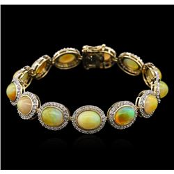17.96ctw Opal and Diamond Bracelet - 14KT Yellow Gold