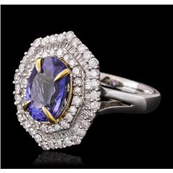 14KT Two-Tone Gold 2.63ct Tanzanite and Diamond Ring