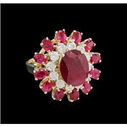 7.51ctw Ruby and Diamond Ring - 14KT Yellow Gold