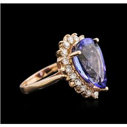 7.52ct Tanzanite and Diamond Ring - 14KT Rose Gold