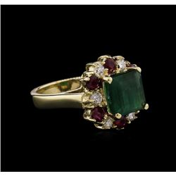 2.94ct Emerald, Ruby and Diamond Ring - 14KT White Gold