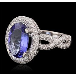 18KT White Gold 2.79ct Tanzanite and Diamond Ring
