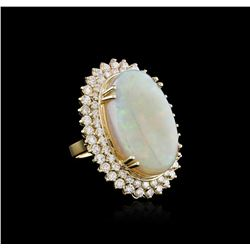 14KT Yellow Gold 14.73ct Opal and Diamond Ring