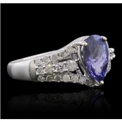 14KT White Gold 1.88ct Tanzanite and Diamond Ring
