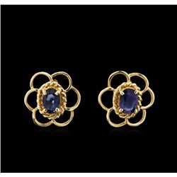 1.00ctw Blue Sapphire and Diamond Earrings - 14KT Yellow Gold