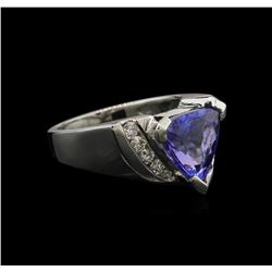 3.05ct Tanzanite and Diamond Ring - 14KT White Gold
